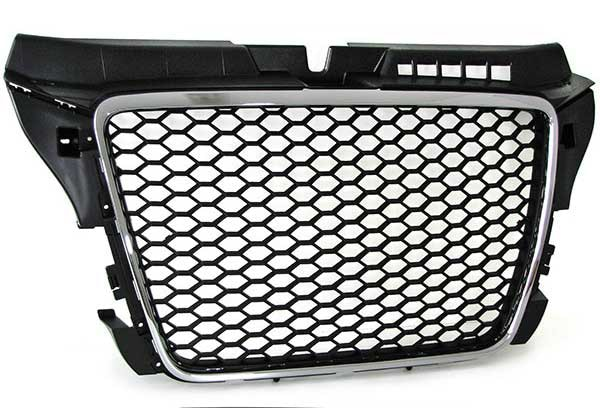 Audi A3 8P honeycomb grille with chrome edges