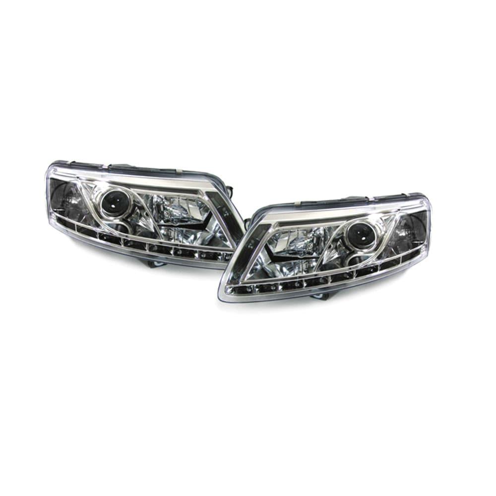 Audi A6 Devil Eyes head lamps chrome