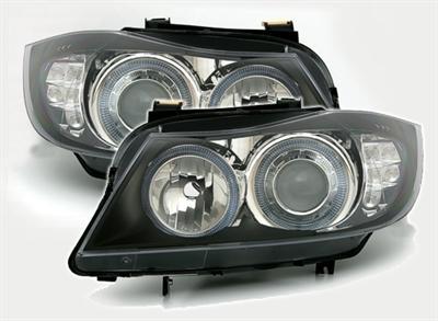 Strålkastare med Angeleyes LED blinkers BMW E90/E91