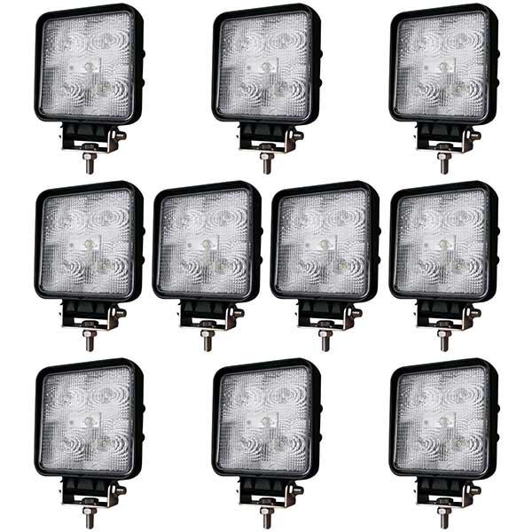 10-pack LED Arbetslampa 9W Kvadratisk