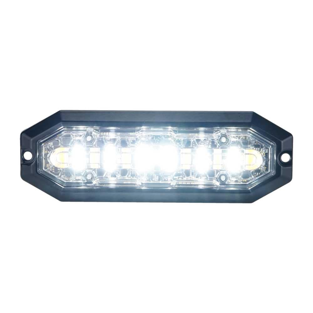 Duoblixtljus 12 LED, 12-24V DC, 20W Orange + vita LED, klar lins