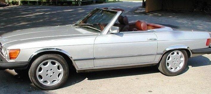 Skärmkantlister i krom Mercedes SL-Klass W107 (208 , 350)