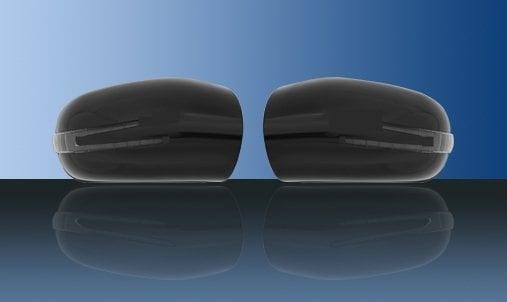 Svarta spegelkåpor (m. LED-blinkers) - Mercedes Benz W203,W211