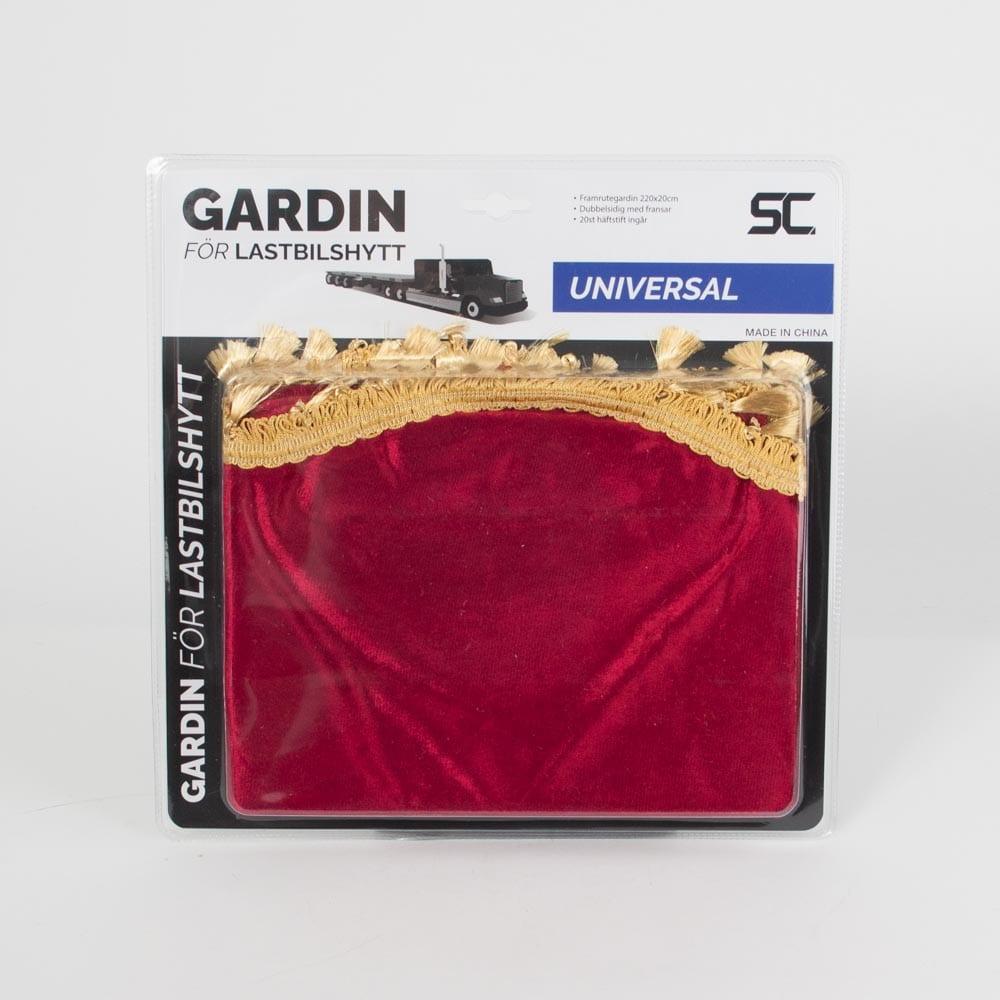 Gardin för vindruta röd/guld