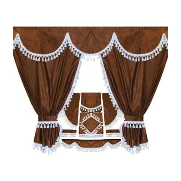 Curtainset 7 parts Brown