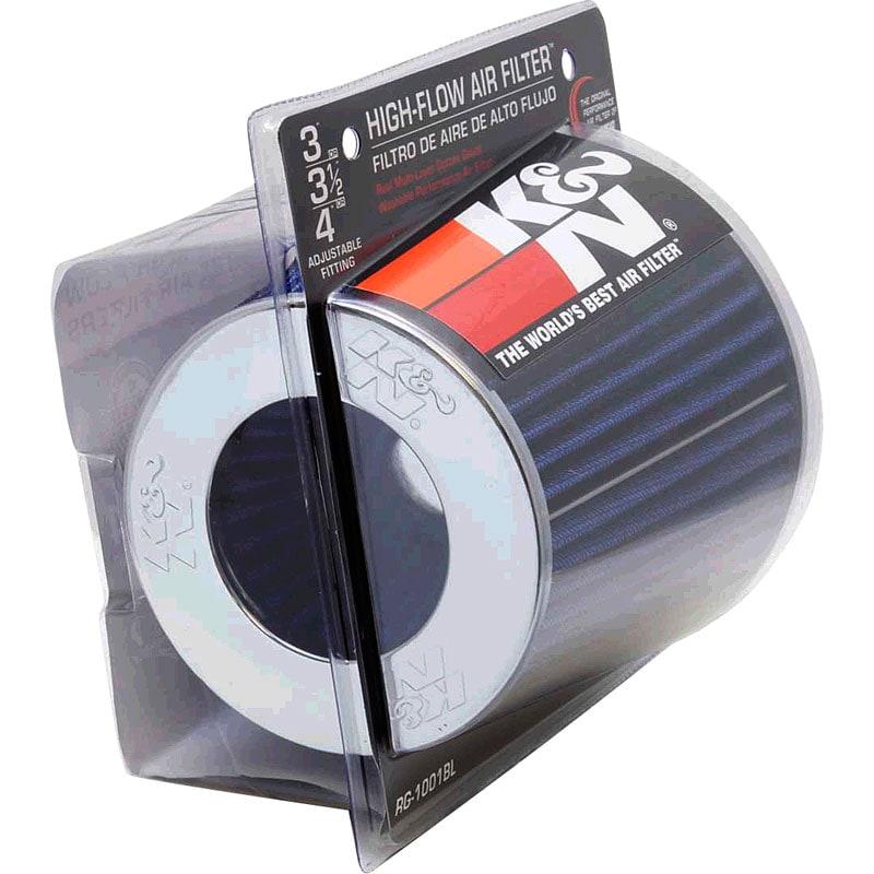 K&N dobbeltkegle universalfilter - Blå med krom top