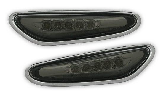 LED Skärmblinkers Svart med kromkant